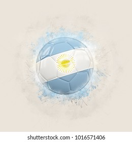 Grunge football with flag of argentina. 3D illustration