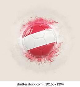 Grunge football with flag of austria. 3D illustration