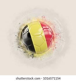 Grunge football with flag of belgium. 3D illustration