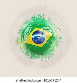 Grunge football with flag of brazil. 3D illustration