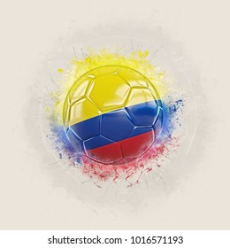 Grunge football with flag of colombia. 3D illustration