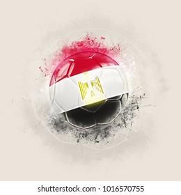 Grunge football with flag of egypt. 3D illustration