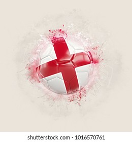 Grunge football with flag of england. 3D illustration