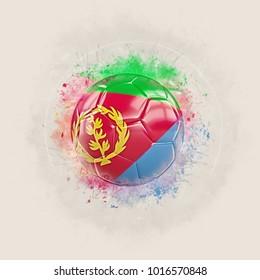 Grunge football with flag of eritrea. 3D illustration