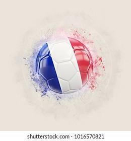 Grunge football with flag of france. 3D illustration
