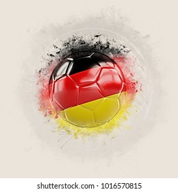Grunge football with flag of germany. 3D illustration