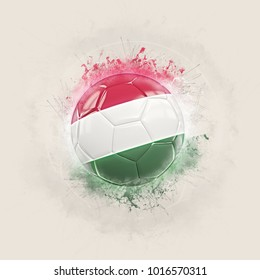 Grunge football with flag of hungary. 3D illustration