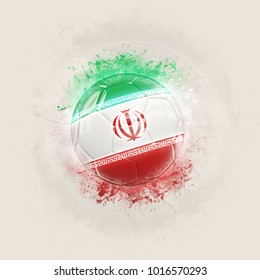 Grunge football with flag of iran. 3D illustration