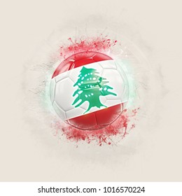 Grunge football with flag of lebanon. 3D illustration