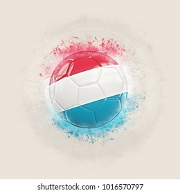 Grunge football with flag of luxembourg. 3D illustration