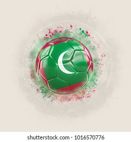 Grunge football with flag of maldives. 3D illustration