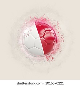 Grunge football with flag of malta. 3D illustration