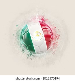 Grunge football with flag of mexico. 3D illustration