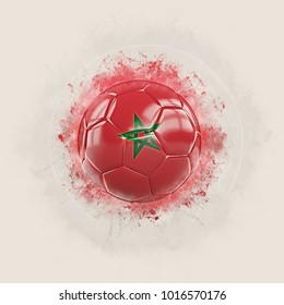 Grunge football with flag of morocco. 3D illustration