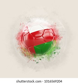 Grunge football with flag of oman. 3D illustration
