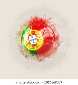 Grunge football with flag of portugal. 3D illustration