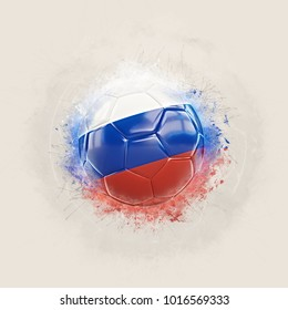 Grunge football with flag of russia. 3D illustration