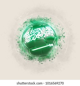 Grunge football with flag of saudi arabia. 3D illustration