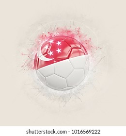 Grunge football with flag of singapore. 3D illustration