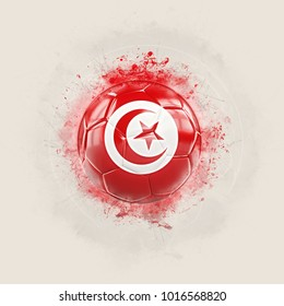 Grunge football with flag of tunisia. 3D illustration
