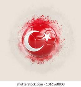 Grunge football with flag of turkey. 3D illustration