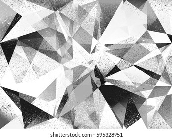 Grunge geometric black and white abstract background illustration