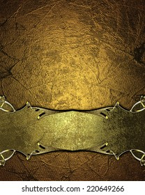 Grunge gold background with gold sign with gold trim. Design template. Design site