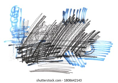 Grunge graphite pencil and blue felt marker, pen hatching, sketching isolated on white background, top view