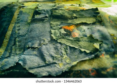 Grunge greenish-grey abstract vintage fabric background with textured effect.