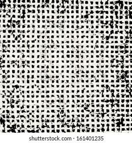 Grunge grid black and white texture. Ink grunge brush.