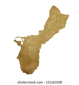 Grunge Guam map in treasure style isolated on white background.