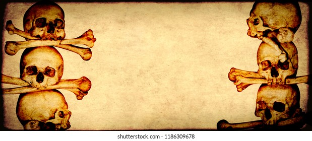 Grunge Halloween background with human skull and old paper texture of brown color. Mock up template. Copy space for text