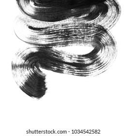 Grunge hand drawn paint brush. Curved brush stroke