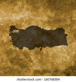 Grunge illustration with the map of Turkey