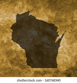 Grunge illustration with the map of Wisconsin