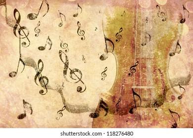 Grunge illustration of vintage music concept background with violin.