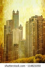 Grunge image of Chicago skyline skyscrapers