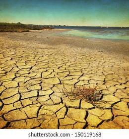 Grunge image of drought land.