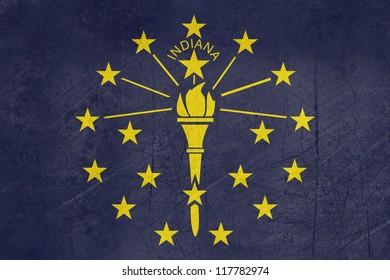 Grunge Indiana state flag of America, isolated on white background.
