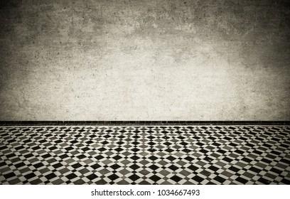 Grunge interior with vintage moroccan tiled floor