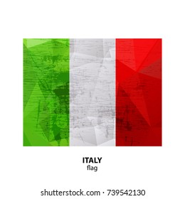 Grunge Italy flag isolated on white background. Design element for flyers or banners.
