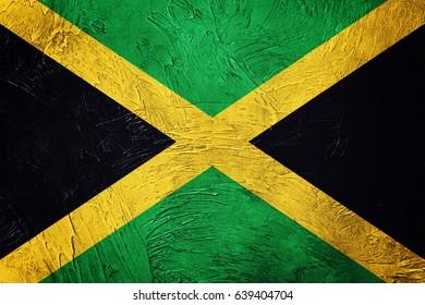 Grunge Jamaica flag. Jamaica flag with grunge texture.