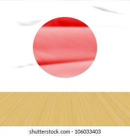 grunge Japan flag background and wooden floor