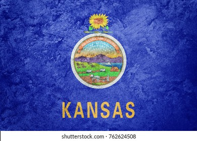 Grunge Kansas state flag. Kansas flag background grunge texture.
