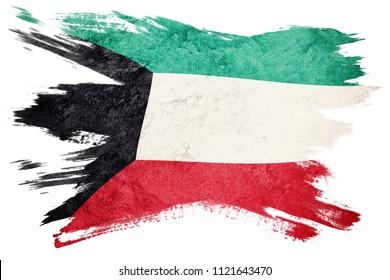 Grunge Kuwait flag. Kuwait flag with grunge texture. Brush stroke.