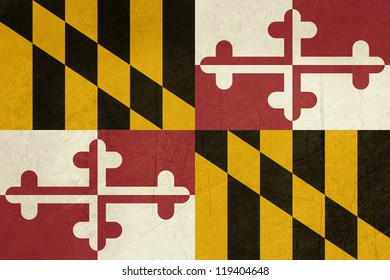Grunge Maryland state flag of America, isolated on white background.