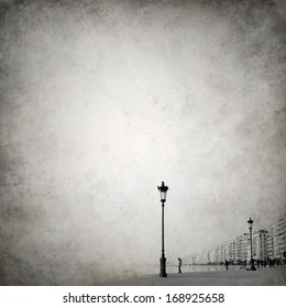 Grunge melancholic background template with cityscape fading out