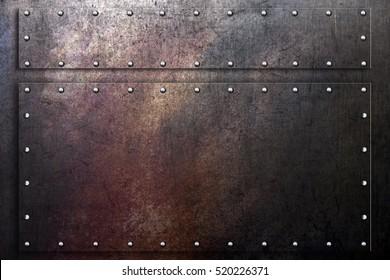 Grunge metal background, worn scratched steel texture