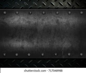 grunge metal with diamond plate background