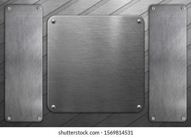 Grunge metal frames on steel background. Shiny metallic texture